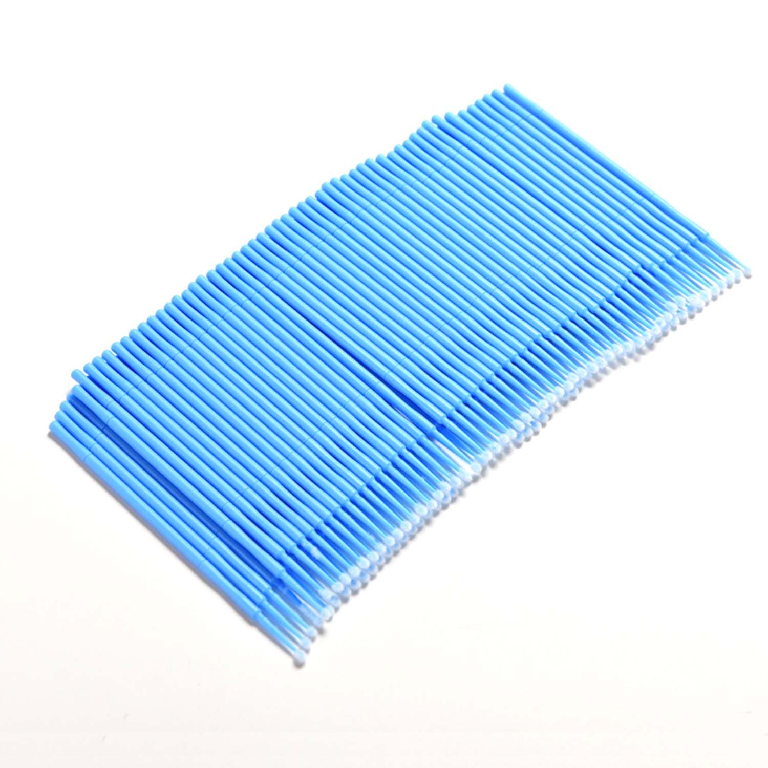 Elisona-100 PCS Disposable Makeup Eyelash Extension Grafting Lint Free Micro Brushes Swab Mascara Wands Applicator Lash Cosmetic Tool Blue