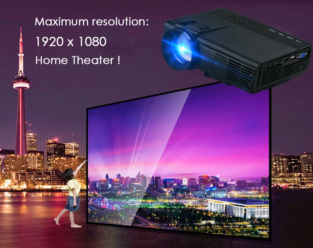 Dihome Mini Projector Portable Multimedia Home Theater LED Video Projector Support 1080P HDMI USB SD Card VGA AV for Home Cinema DHP5 Black by Dihome