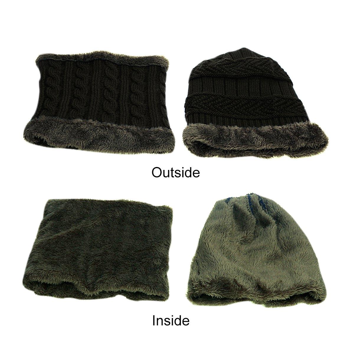 Chapeau d\'hiver et écharpe pour Garçons Filles, JUSTIME Bonnet Tricoté pour Enfants et écharpe Cercle (5-14 ans) (Noir)