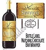 Eternal Design Personalised Birthday Wine/Spirit Bottle Label With Matching Chocolate Bar Wrapper BDWW 21
