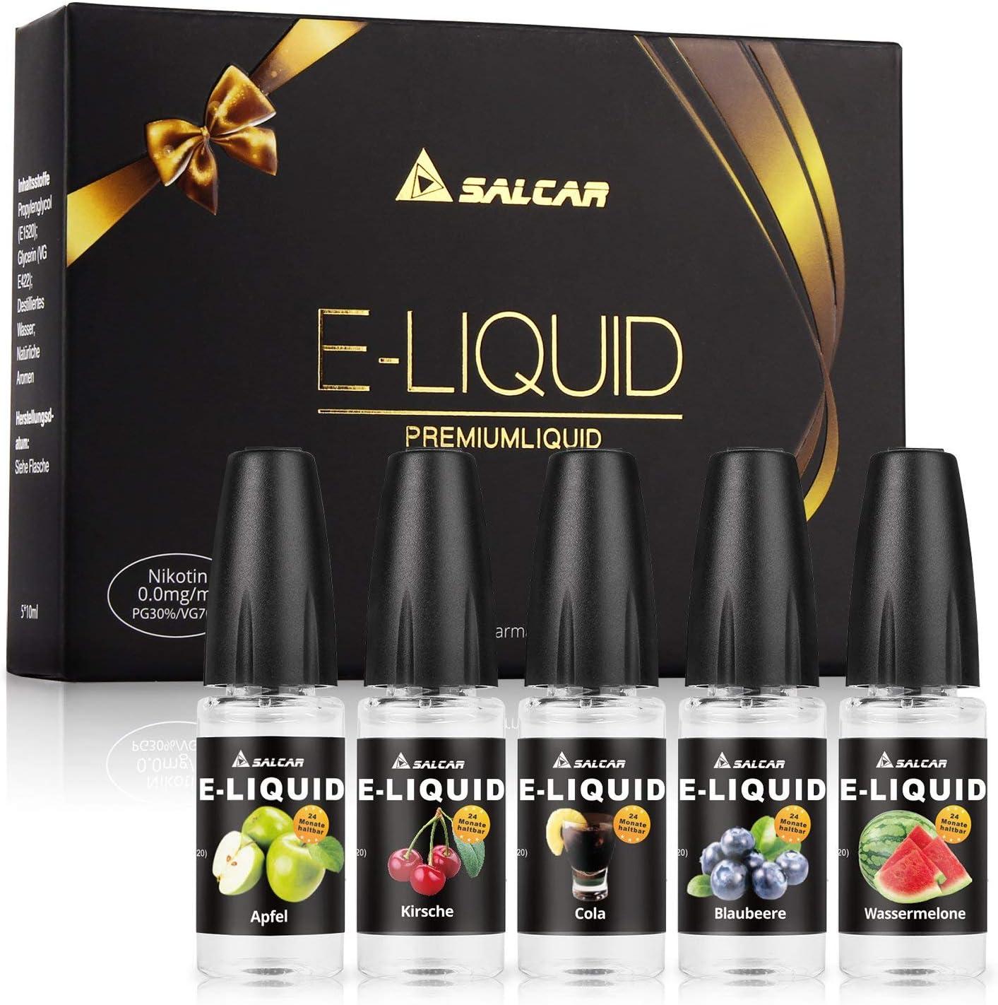 Salcar 5 x 10ML de Liquid para cigarrillo electrónico, VG70%/PG30%, manzana, cereza, arándanos, sandía, cola,sin Nicotina: Amazon.es: Salud y cuidado personal