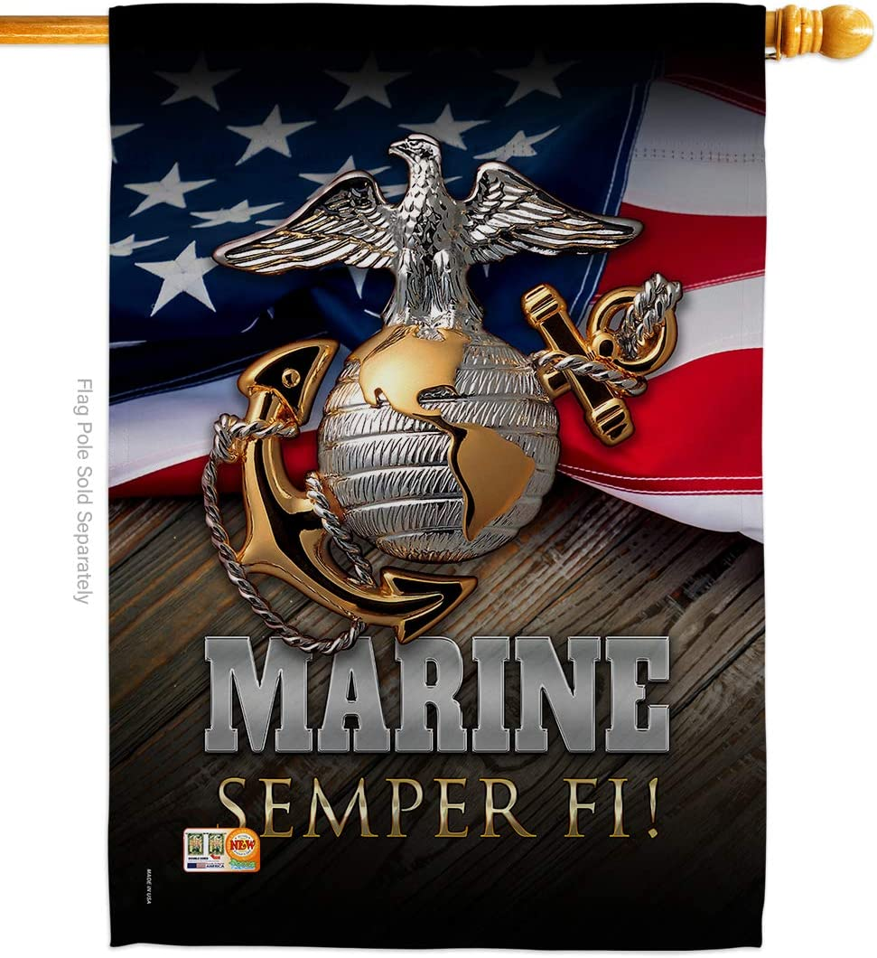 "Angeleno Heritage - Marine Semper Fi Americana - Everyday Military Impressions Decorative Vertical House Flag 28"" x 40"" Printed in USA"
