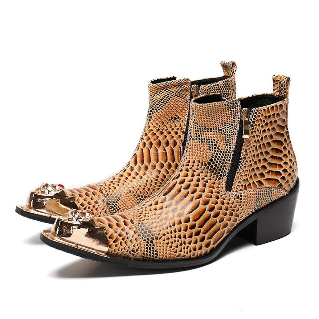 Mr.Zhangs Art Home Mens shoes Los Botines para Hombre de Color marrón Aumentaron el Estilo de Cabello Afilado los Zapatos de la Discoteca del Maestro: ...
