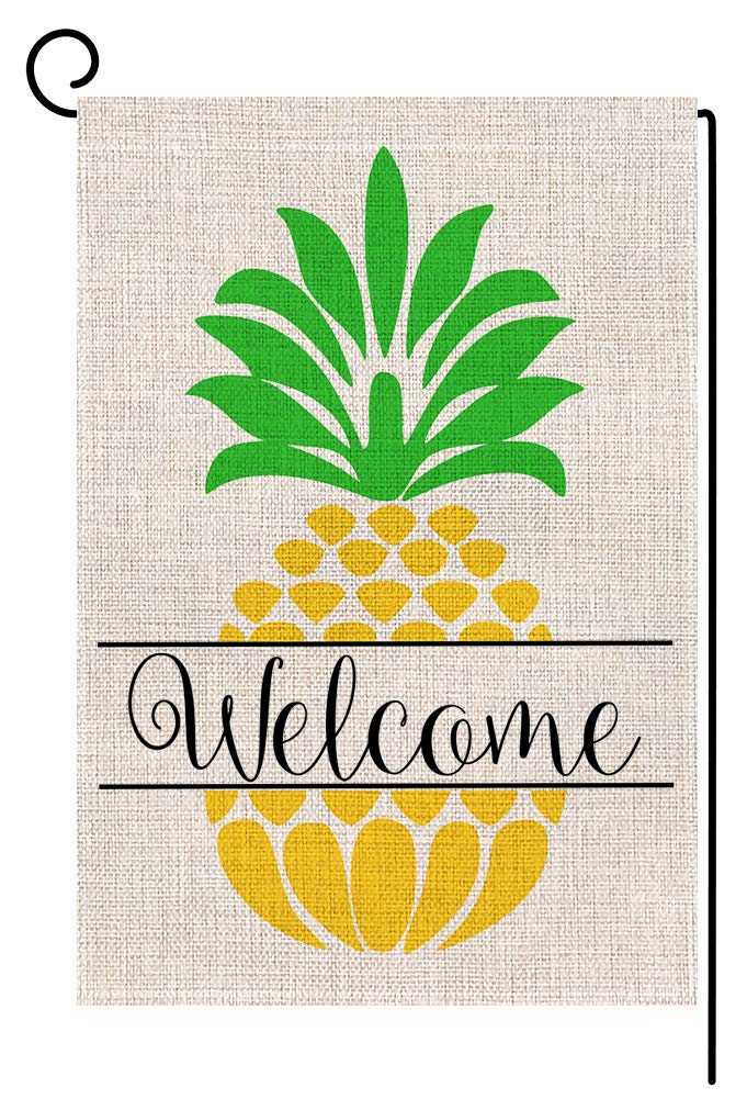 BLKWHT Pineapple Welcome Small Garden Flag Vertical Double Sided 12 x 18 Inch Outdoor Yard Decor
