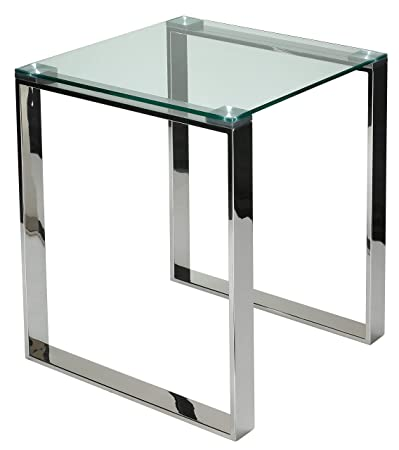 Cortesi Home Remi Contemporary Square Glass End Table with Chrome Finish