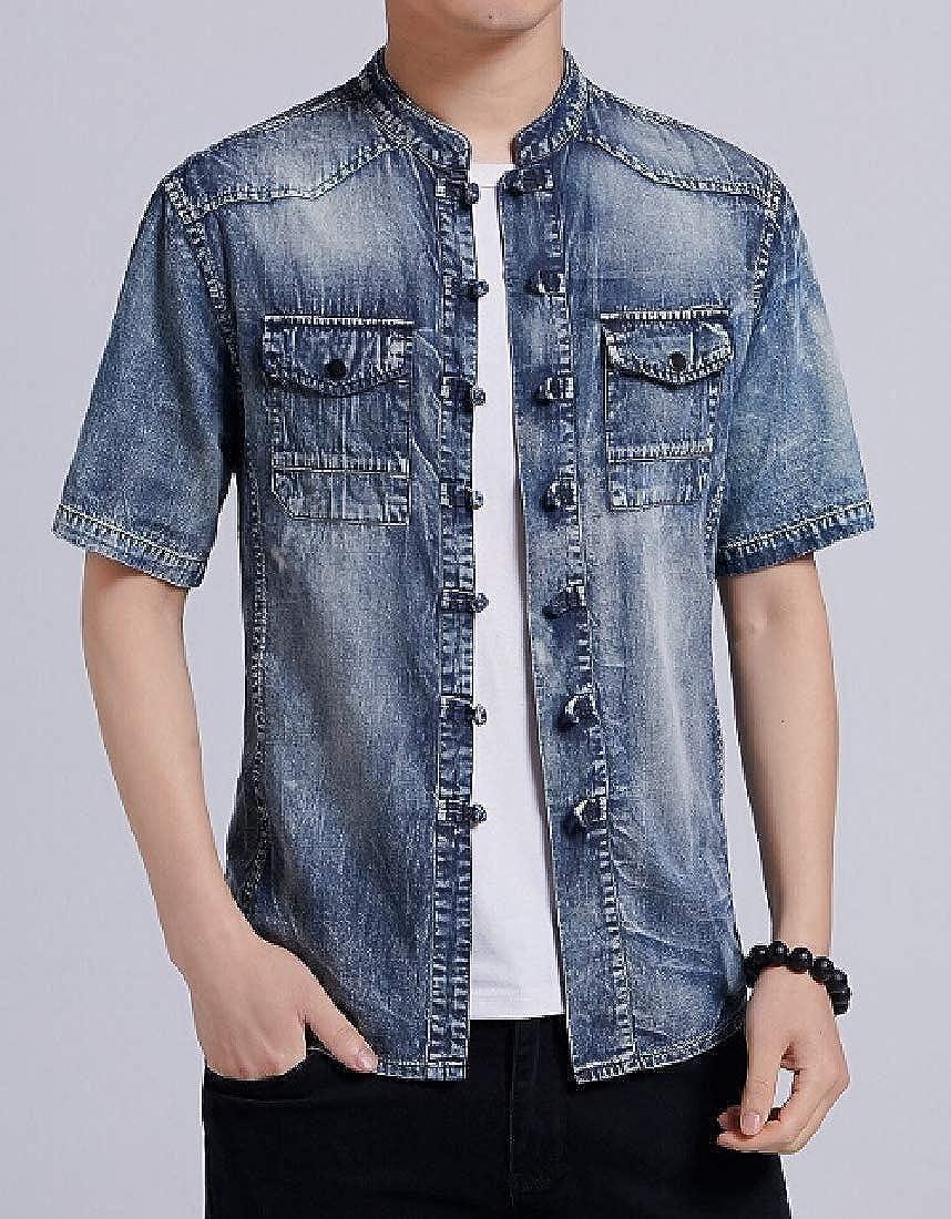 pujingge Mens Denim Work Shirt Casual Cotton Short Sleeve Button Down Shirt