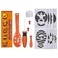 Lelengder Kurbis-Schnitzset 14-teilig inkl. 9 Schnitz-Vorlagen und LED-Licht mit Funktion - fur KinderDeco Halloween Schnitz-Werkzeuge