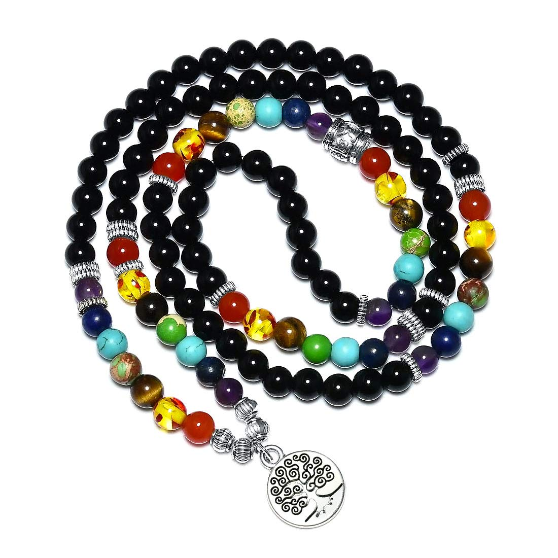 CAT EYE JEWELS 6MM Natural Healing Stone 108 Mala Beads Necklace 7 Chakra Yoga Buddhist Meditation Rosary Prayer Tree of Life Charm Bracelet Lava Rock Beads Diffuser Bracelet PB-6P