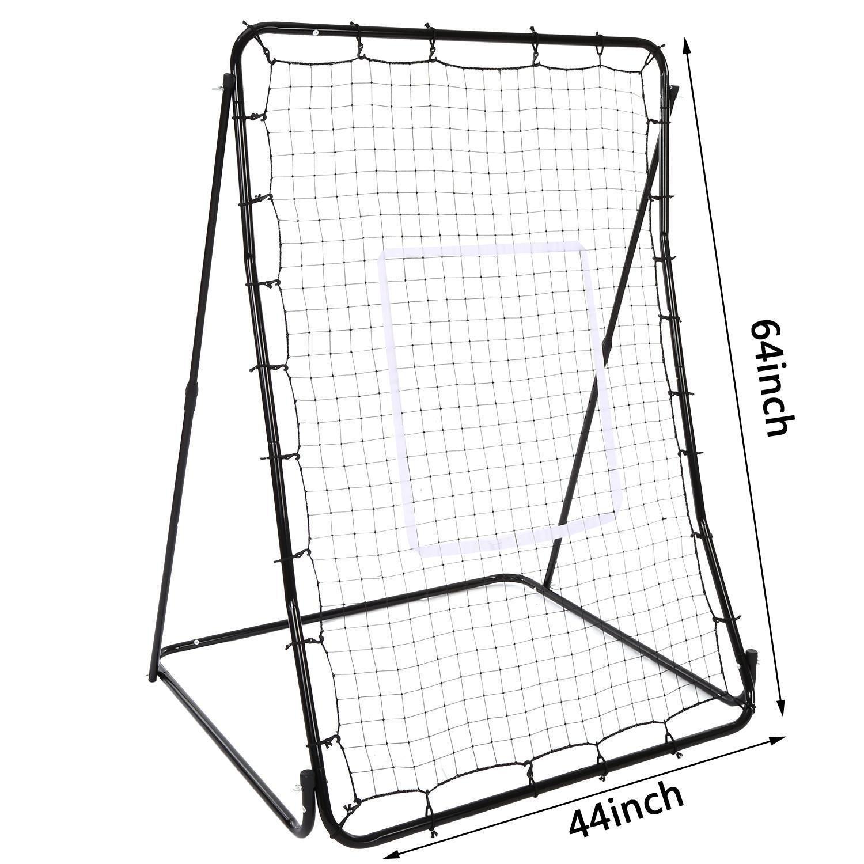 Oguine Multi-sport Baseball Softball Lacrosse Rebounder Pitchback Screen Return Trainer Net,44'' x 64'' Adjustablel Practice Screen