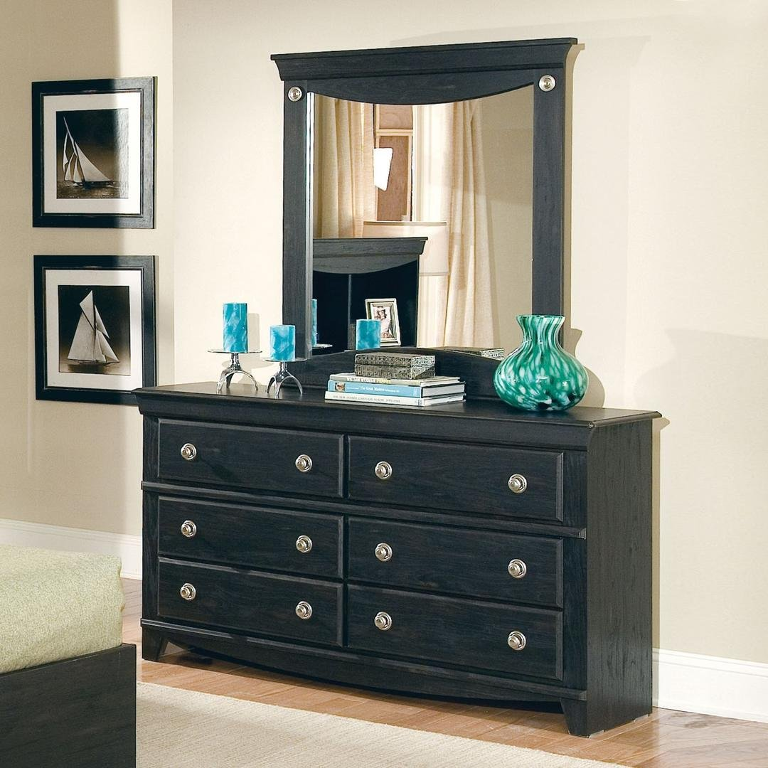 50409A Carlsbad Dresser with Coordiating Mirror and 6 Pullout Storage Drawers in Pecan