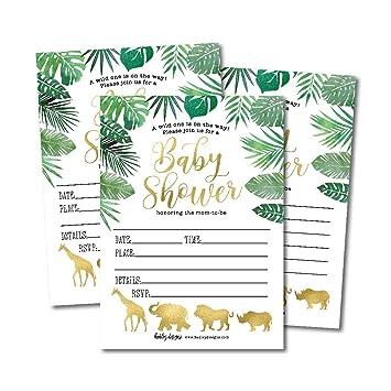 Amazon Com 25 Safari Baby Shower Invitations Sprinkle Invite For