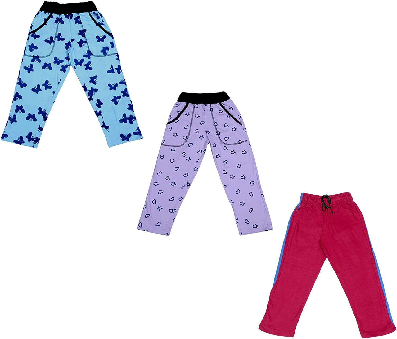 IndiWeaves Girls Premium Cotton Full Length Lower//Track Pants//Pyjamas with 2 Open Pockets Pack of 3