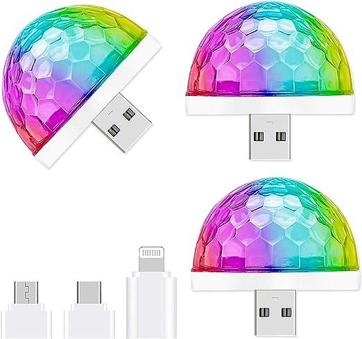 Mini luz de discoteca, 3 paquetes de luces LED activadas por sonido para Halloween, DJ, discoteca, escenarios, multicolores, luz estroboscópica mágica ...