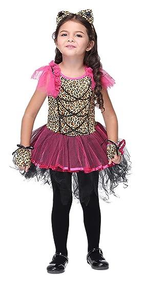 Amazoncom Girls Leopard Cheetah Animal Cat Halloween Costumes Kids