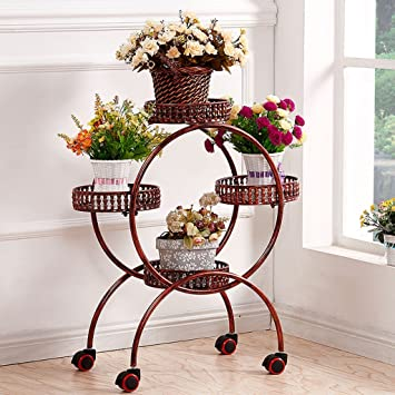 amazon com large iron flower pot stand wheel with lock 4 tier home