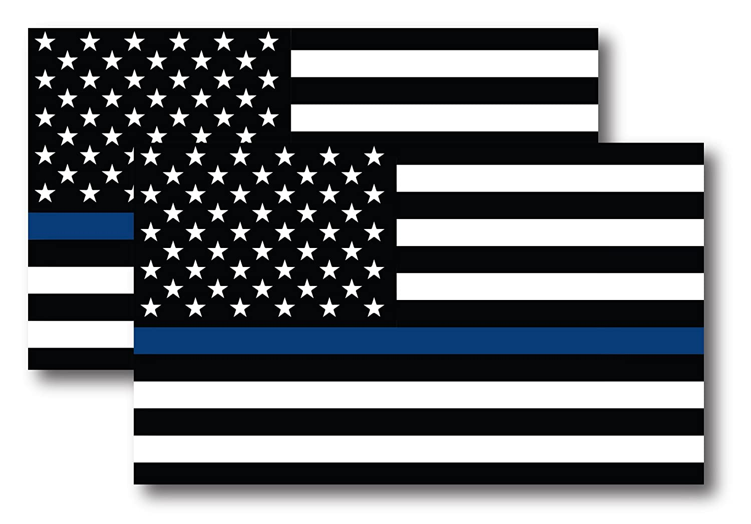 Thin Blue Line American Flag Magnet Decal 5 inch x 3 Inch 2 Pack - Heavy Duty for Car Truck SUV - in Support of Police and Law Enforcement Officers