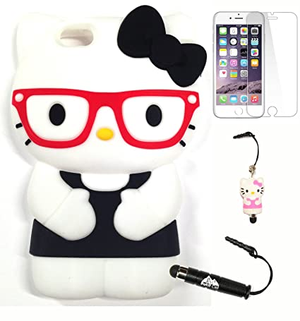 Bukit Cell 3D Hello Kitty Soft Silicone Case for iPhone 6s Plus / 6 Plus Bundle with 3D Figure Stylus Touch Pen & Screen Protector - Black