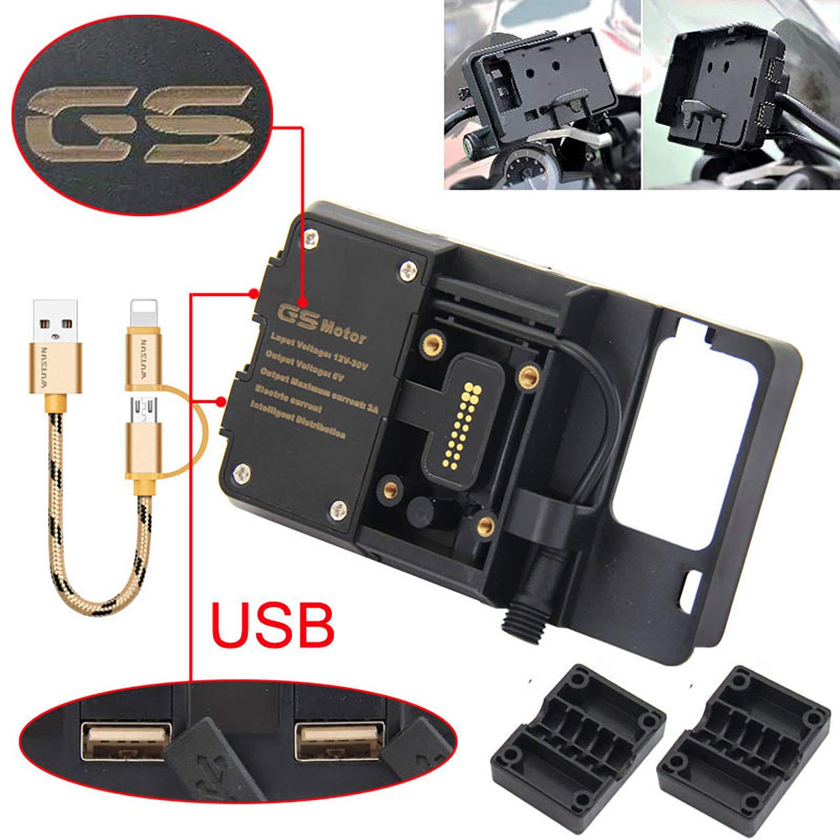 For BMW R1200GS Mobile Phone Navigation Bracket ADV F700 800GS CRF1000L Africa Twin For Honda Motorcycle USB Charging 12MM Mount R&P