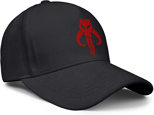 Adjustable Flat Caps SweaterWg7 Unique Dad Hats for Men Womens Mandalorian-Skull-Symbol-red
