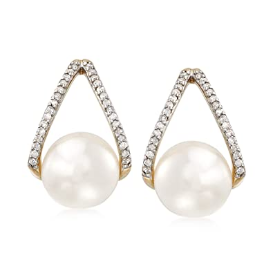 67900c816 Amazon.com: Ross-Simons 8-8.5mm Cultured Pearl and .12 ct. t.w. ...
