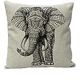 Amybria 45 * 45cm de algodón de lino Animal Decoración almohadilla de tiro de la caja de la cubierta del amortiguador de elefante