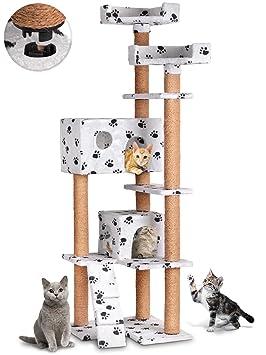 Leopet - Árbol rascador para gatos con cuevas, plataformas y escalera - altura aprox. 166 cm - color blanco con pisadas: Amazon.es: Hogar
