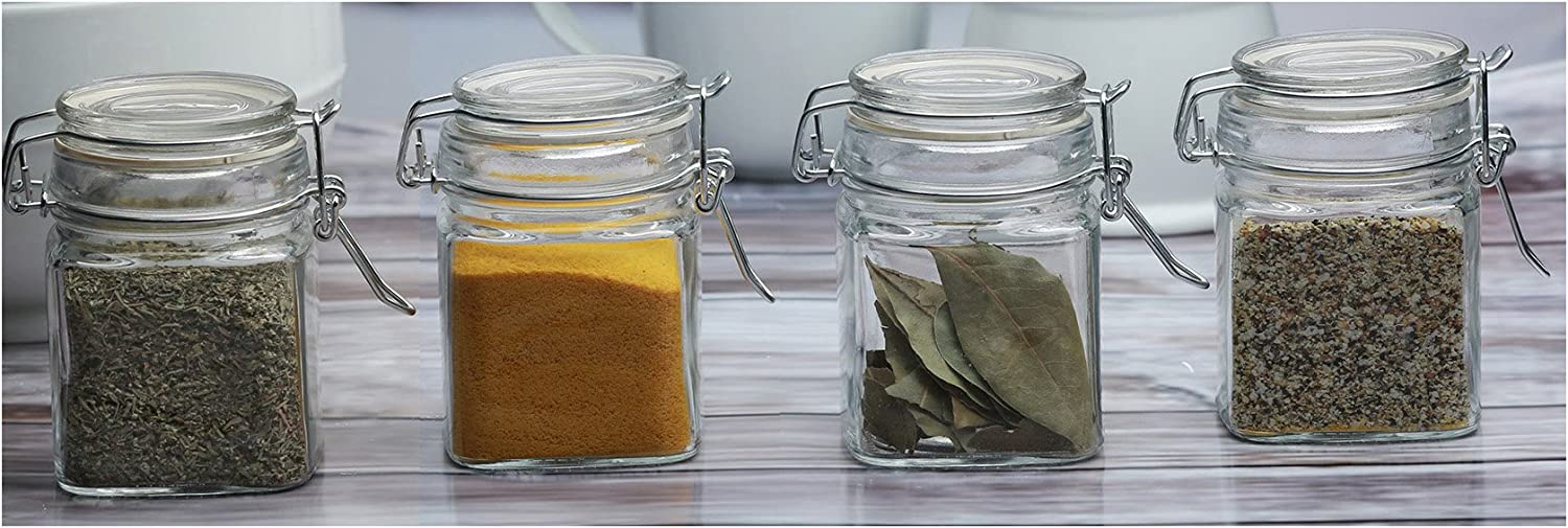 Circleware Mini Square Glass Spice Jar with Swing Top Hermetic Airtight Locking Lid Set of 4 Kitchen Glassware Food Preserving Storage Containers for Coffee, Sugar, Tea, 7.25 oz, Clear