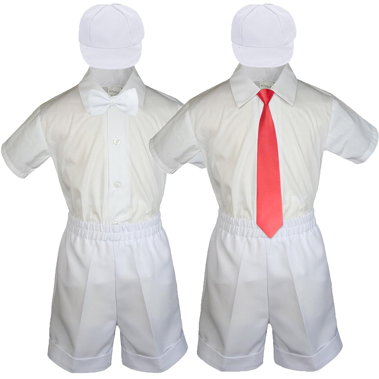 Baby Toddler Boy Wedding Party Suit White Shorts Shirt Hat Necktie Set Sm-4T