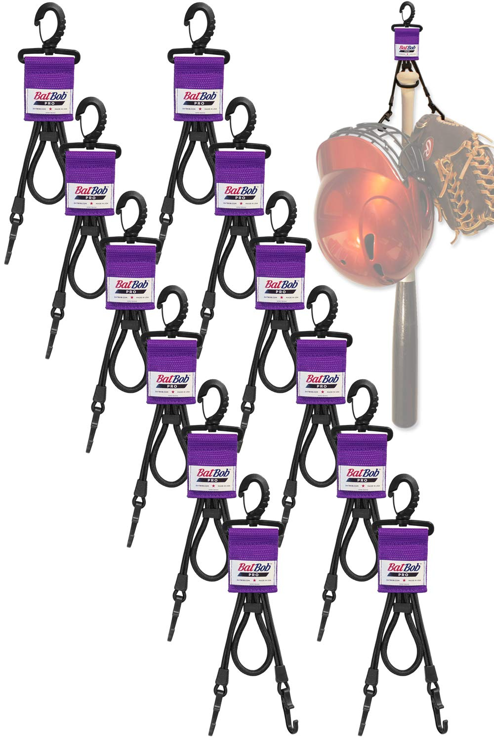 (Team 12 pack) Dugout Gear Hanger - The Dugout Organizer - For Baseball and Softball to hold bats, helmets and gloves (Purple) by BatBob