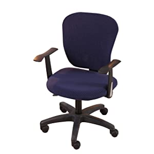 Jinzio Office Chair Cover - Split Protective & Stretchable Solid Corn Velour Universal Computer Desk Task Chair Chair Covers Stretch Rotating Chair Slipcover, Navy Blue