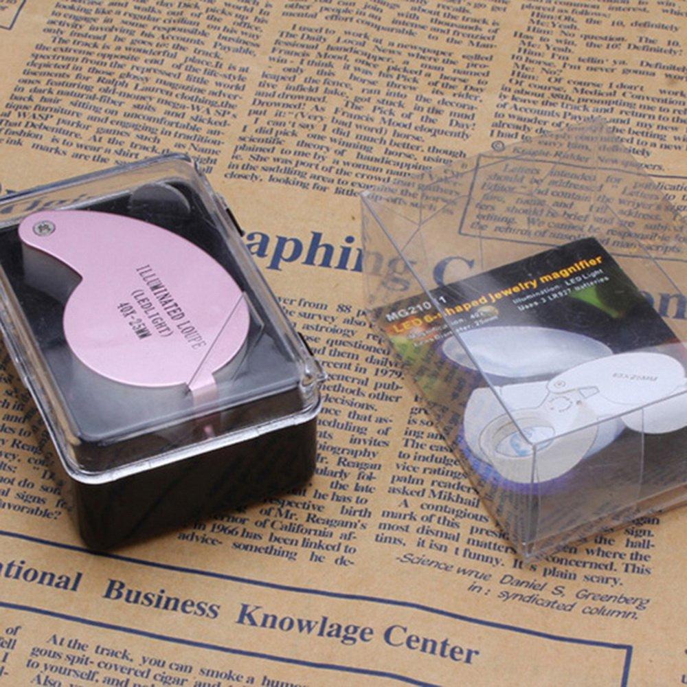 Sfit LED lente d ingrandimento eclairante lente d ingrandimento da gioielliere ingrandimento 40/volte rosa