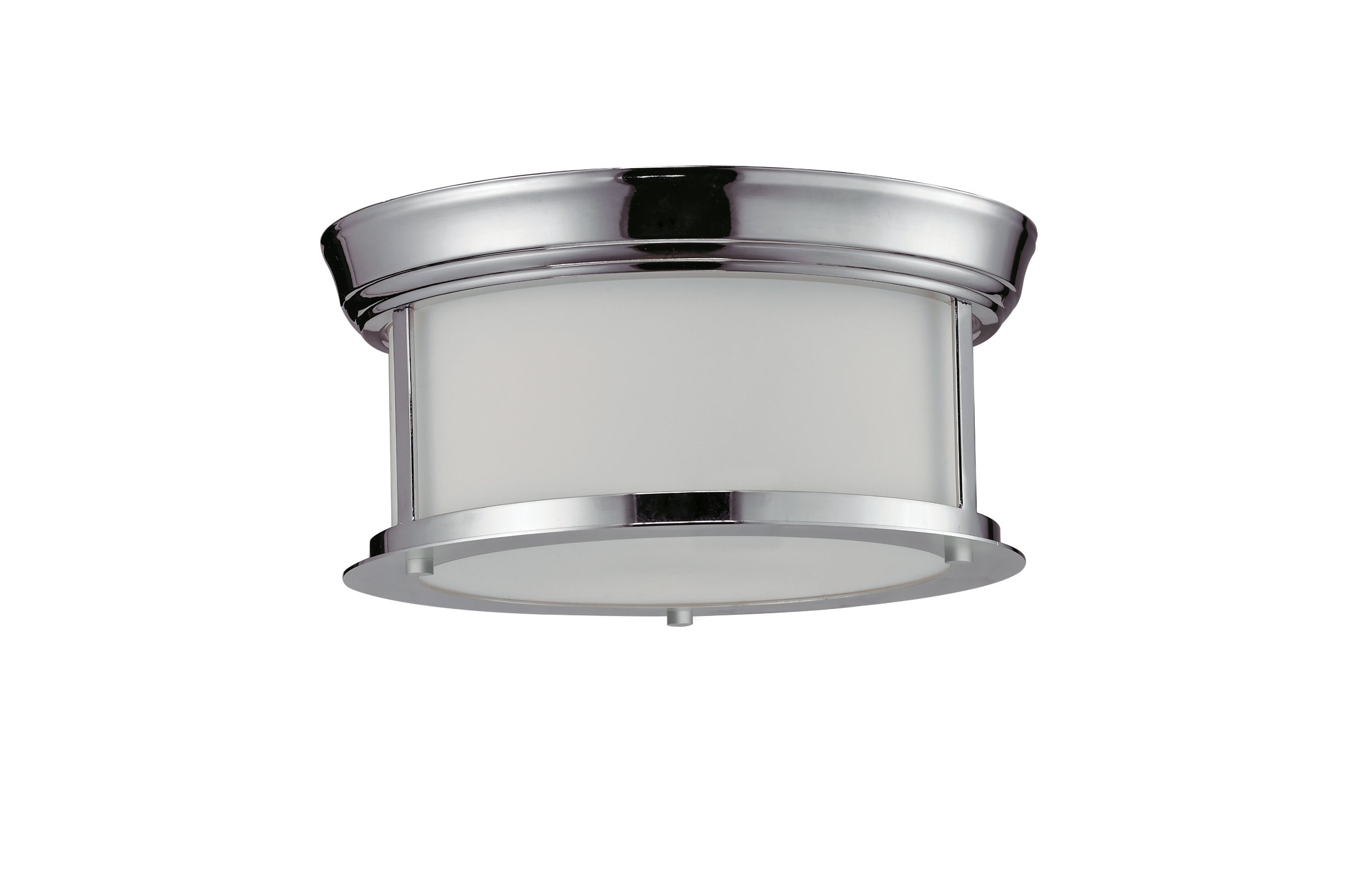 Z-Lite 2003F10-CH Sonna Two Light Ceiling, Steel Frame, Chrome Finish and Matte Opal Shade of Glass Material