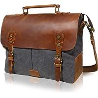 Lifewit 14-15.6 Inch Leather Satchel Messenger Laptop Shoulder Bag Canvas Briefcase