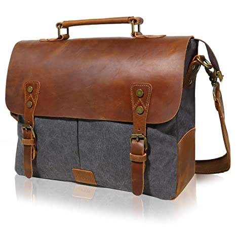 Image Unavailable. Image not available for. Color  Lifewit Leather Vintage  Canvas Laptop Bag ... 95bba68c84