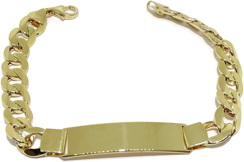 Never Say Never Pulsera para Hombre de Oro Amarillo de 18k con Placa.1.00cm de Ancha y 21.50cm de Larga. 100% Personalizable. Cierre mosquetón