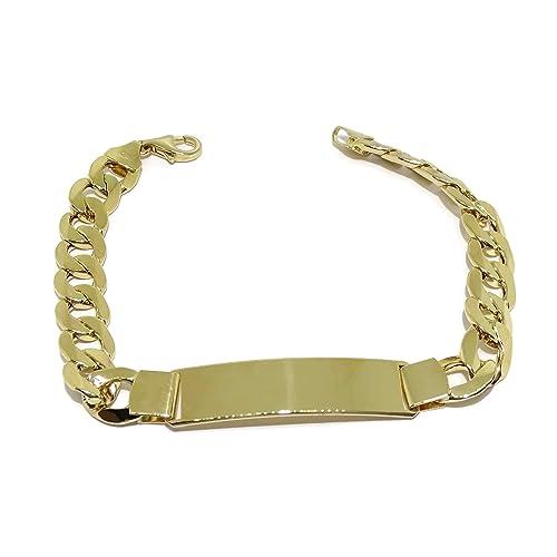 95e0c760166c Never Say Never Pulsera para Hombre de Oro Amarillo de 18k con Placa.1.00cm  de Ancha y 21.50cm de Larga. 100% Personalizable. Cierre mosquetón   Amazon.es  ...