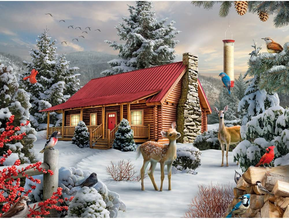 Bits and Pieces - 1000 Piece Jigsaw Puzzle for Adults - New Friends - 1000 pc Winter Cabin Jigsaw by Artist Alan Giana