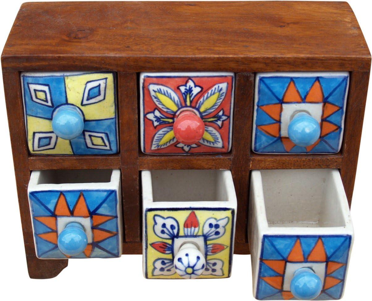 Guru-Shop Mobile Farmacista con Colorate 2 Scomparti Piccolo Schubfachschr/änkchen 10x17x0 cm