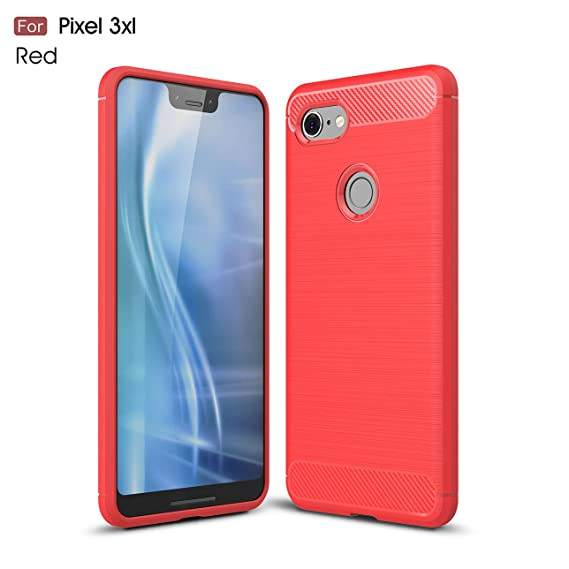 online retailer 16e95 c3789 Pixel 3XL case,Google Pixel 3XL case,Silicone Shockproof Cover Durable  Ultra Thin Carbon Fiber Soft Protection case for Google Pixel 3XL (Red)