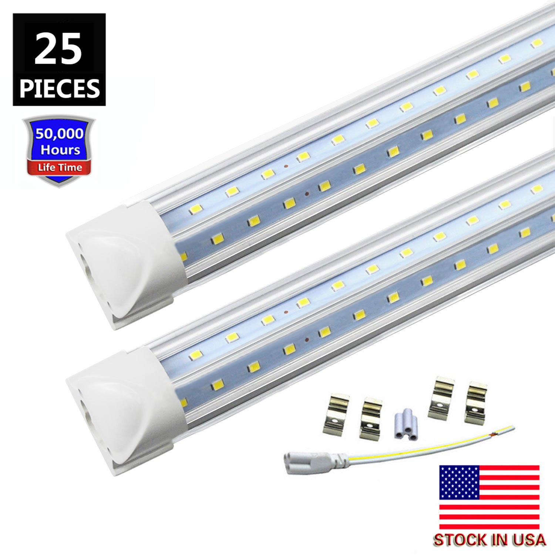 8FT LED Tube Light Bulb, 72W 7200LM, Double Side V Shape Integrated 8 Foot LED Light Fixtures, T8 LED Shop Lighting, Clear Cover, Cool White 6000K, AC85-265V, LED Cooler Door Lights (25-Pack)
