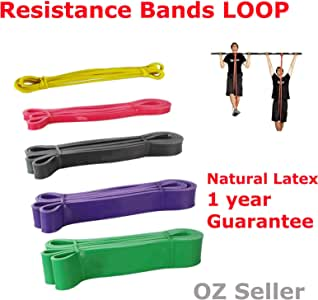 Set of 5 Heavy Duty Resistance Band Loop Power Gym Fitness Exercise Yoga Workout