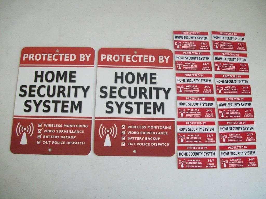 2 Home Security Alarm System Yard Signs & 12 Window Stickers - Stock # 703