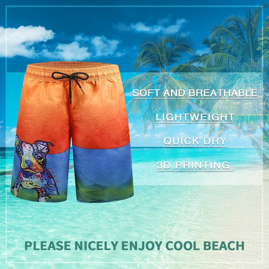 iCKER Mens Swim Shorts Swimming Trunks 3D Print Beach Shorts Boardshorts for Summer