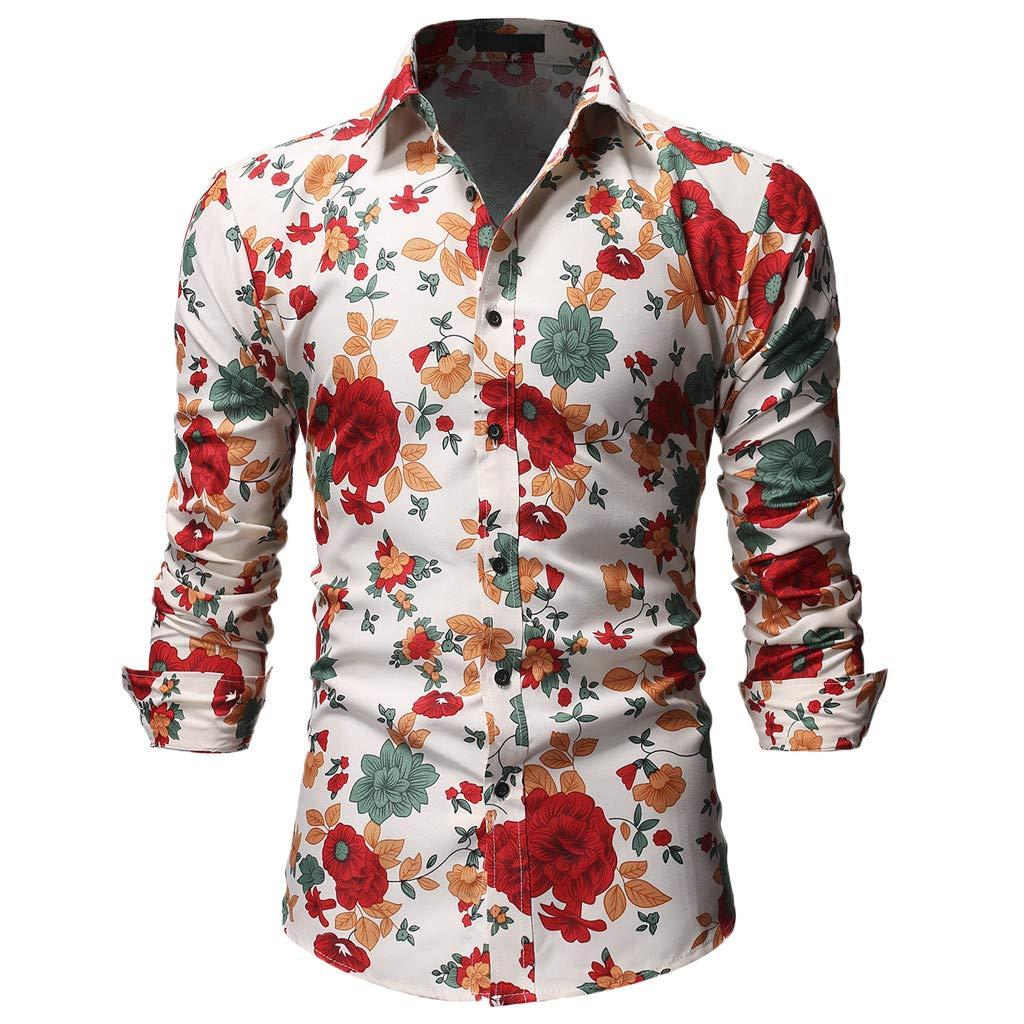 HTHJSCO Summer Fashion Men's Floral Print Cotton Slim Fit Long Sleeve Casual Button Down Shirt Beige