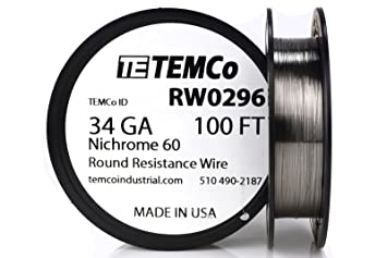 Temco nichrome 60 series wire 34 gauge 100 ft resistance awg ga temco nichrome 60 series wire 34 gauge 100 ft resistance awg ga amazon greentooth Gallery