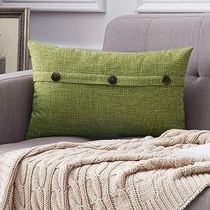 MIULEE Decorative Linen Throw Pillow Cover Cushion Case Triple Button Vintage Farmhouse Pillowcase for Couch Sofa Bed 12 x 20 Inch 30 x 50 cm Green