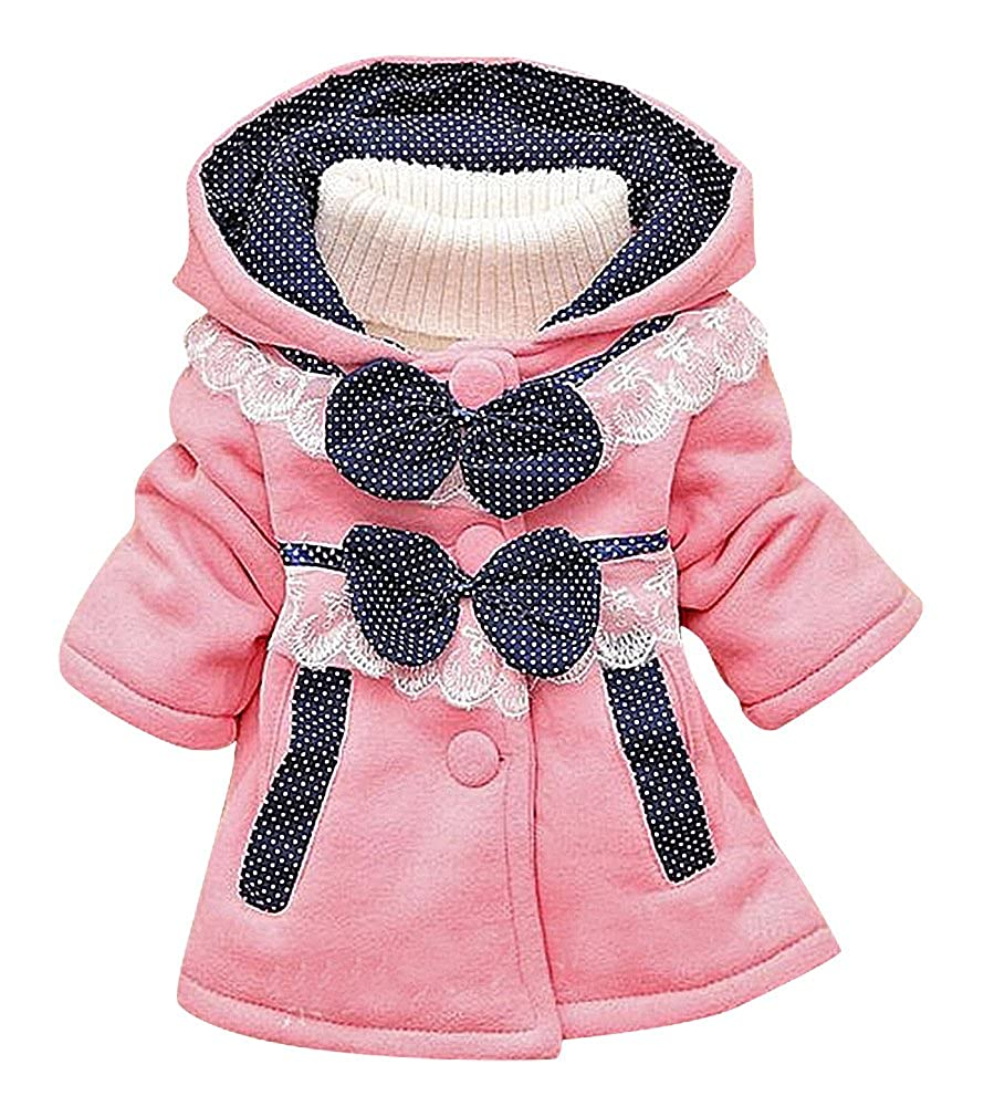 Sweety Baby Girls Polka Dot Lace /& Bow Tie Details Buttoned Hooded Cotton Coat
