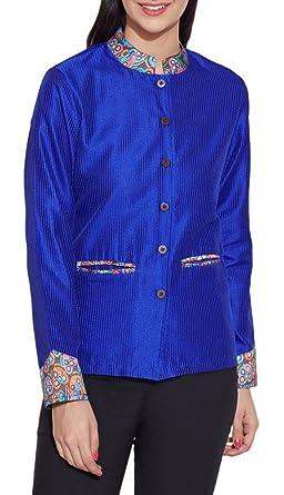 Soie Mode Femmes Vêtements Courte 100Polyester Faux Veste 3Rj4qcLA5S