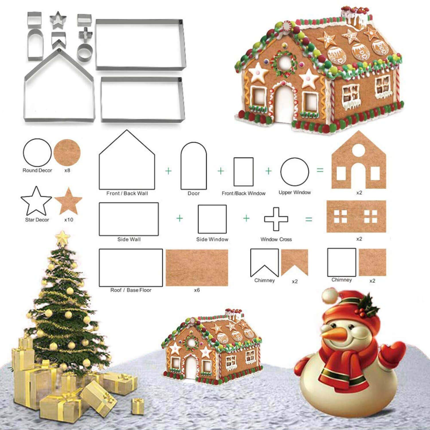 3D Christmas Gingerbread House Cookie Cutters for Holiday Winter & Christmas Cutters Kit, Gift Box Packaging 10 Pieces Set Yakin shop