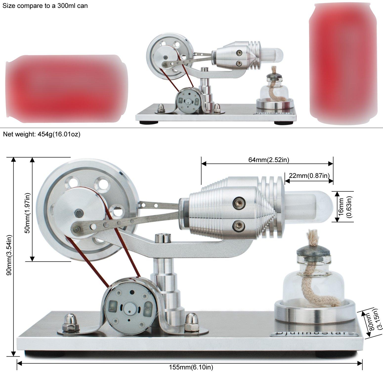 DjuiinoStar Hot Air Stirling Engine, Solid Metal Construction, Electricity Generator(Assembled), My First Stirling Engine by DjuiinoStar (Image #2)